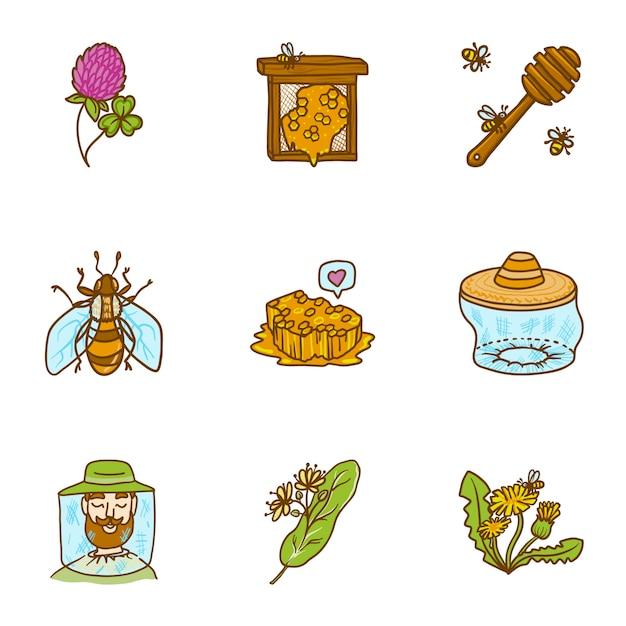 Honigset, handgezeichnete stil Premium Vektoren