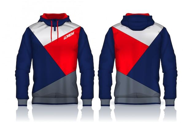 Hoodie-hemdschablone jacken-design, vorder- und rückansicht der sportkleidungs-bahn. Premium Vektoren