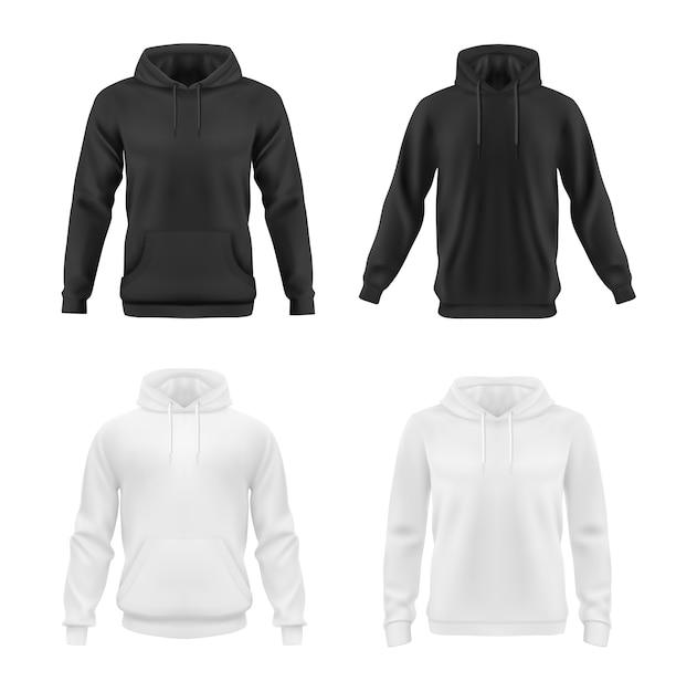 Hoodie, sweatshirt-modell für männer oder frauen Premium Vektoren