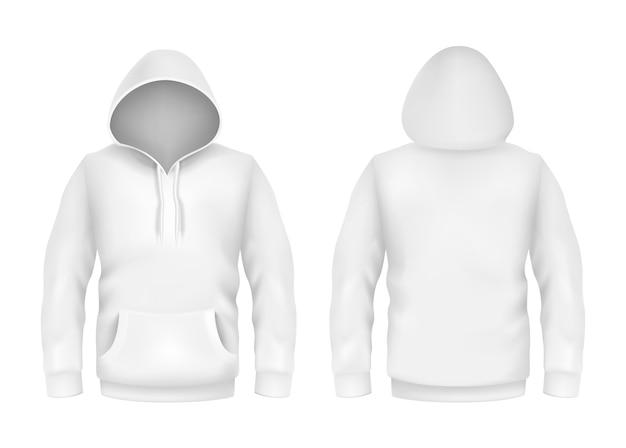 Hoodiesweatshirt-weiß 3d realistische modellschablone auf weißem hintergrund Premium Vektoren