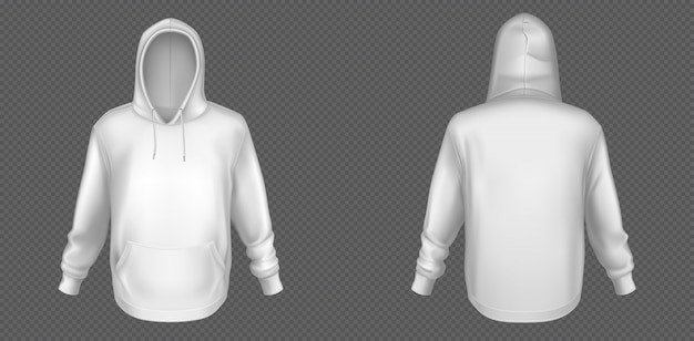 Hoody, weißes sweatshirt-modell vorne und hinten Kostenlosen Vektoren