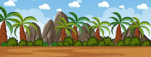 Horizont naturszene oder landschaftslandschaft mit palmenansicht und regenbogen im leeren himmel am tag Premium Vektoren