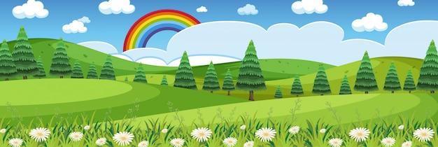 Horizont naturszene oder landschaftslandschaft mit waldblick und regenbogen am himmel tagsüber Premium Vektoren