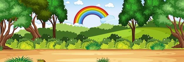 Horizont naturszene oder landschaftslandschaft mit waldblick und regenbogen im leeren himmel am tag Premium Vektoren