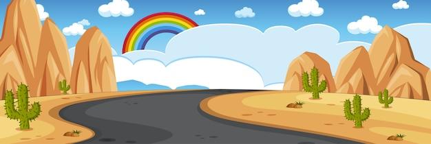 Horizont naturszene oder landschaftslandschaft mit wüstenblick und regenbogen im leeren himmel am tag Premium Vektoren