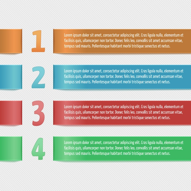 Horizontale bänder mit zahlen. moderne designvorlage für business-infografik. vorlage für banner, karten, papier-designs, website-layouts, präsentationen etc. vector eps10. Kostenlosen Vektoren