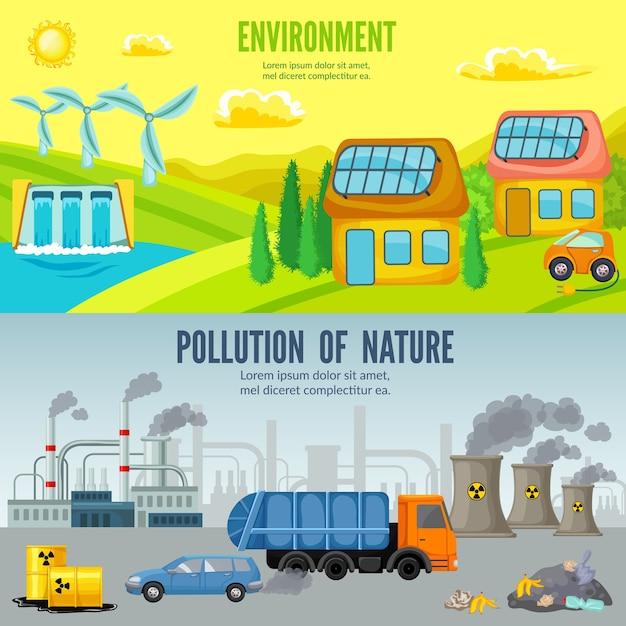 Horizontale banner der karikatur der umweltverschmutzung Kostenlosen Vektoren
