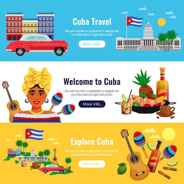 Horizontale banner der kuba-reise, die mit flacher isolierter vektorillustration der landmarkenelemente eingestellt werden Kostenlosen Vektoren
