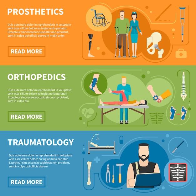 Horizontale banner der traumatologie orthopädie Kostenlosen Vektoren