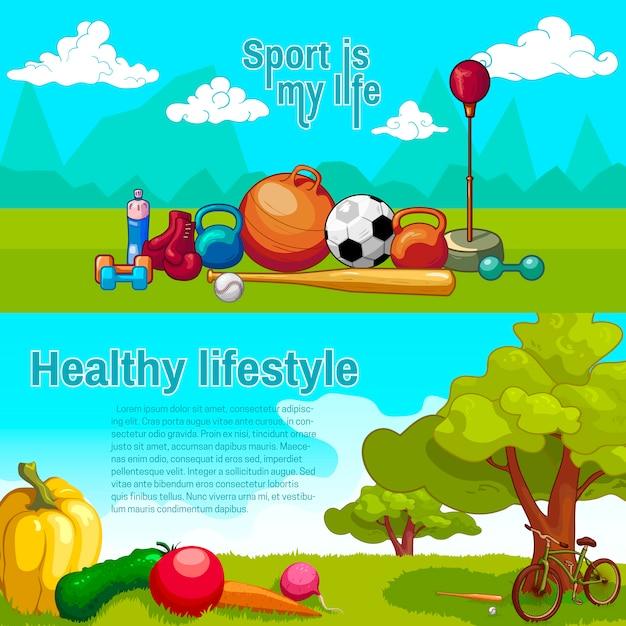 Horizontale banner für einen gesunden lebensstil Kostenlosen Vektoren