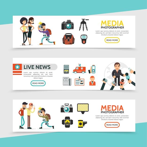 Horizontale banner für flache massenmedien Premium Vektoren