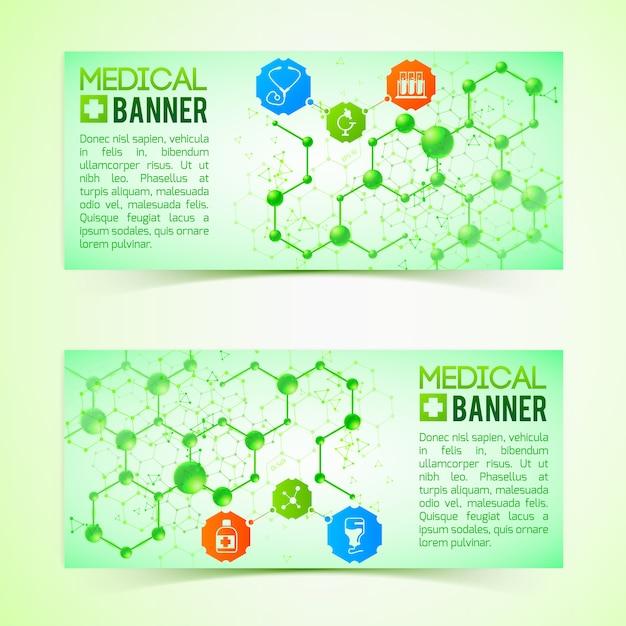 Horizontale banner für pharmazie und apotheke setzen realistische isolierte illustration Kostenlosen Vektoren