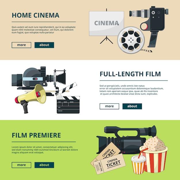 Horizontale banner mit kinokompositionen Premium Vektoren