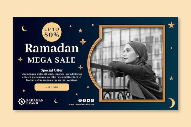 Horizontale banner-vorlage des ramadan-verkaufs Kostenlosen Vektoren