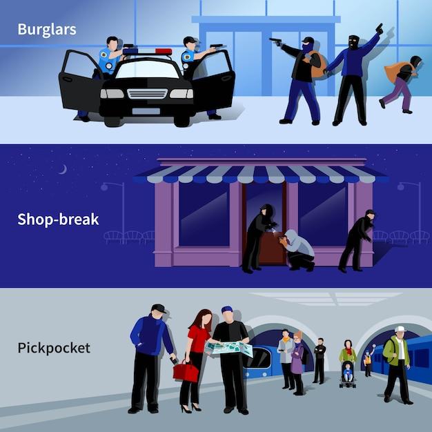 Horizontale bewaffnete einbrecher und kriminelle, die diebstahl in bankgeschäft und metro begingen Kostenlosen Vektoren