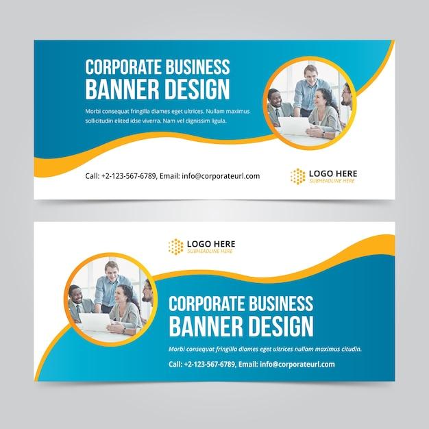 Horizontale business web banner set vektor vorlagen Premium Vektoren
