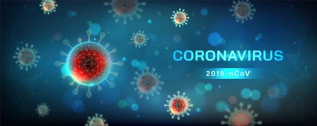 Horizontale darstellung des coronavirus. viruszelle in mikroskopischer ansicht Kostenlosen Vektoren