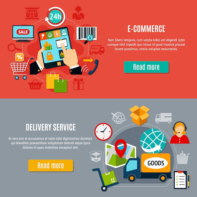 Horizontale e-commerce-banner Kostenlosen Vektoren
