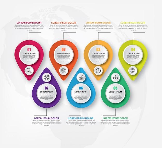 Horizontale entwurfsvorlage für infographik-geschäft Premium Vektoren