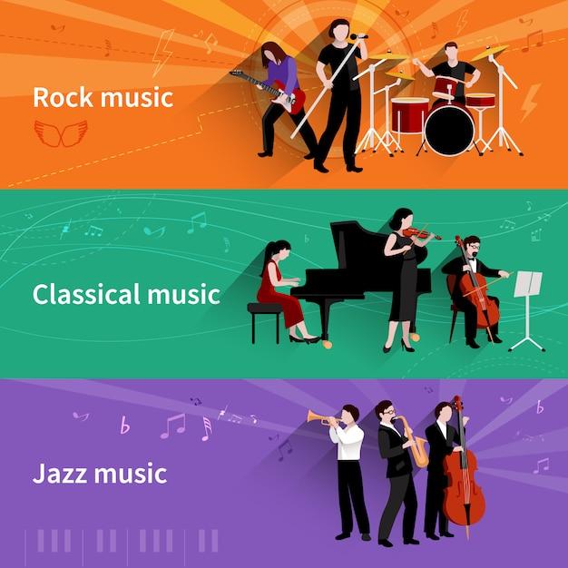 Horizontale fahne der musiker eingestellt mit klassischen elementen des jazz des rock Kostenlosen Vektoren