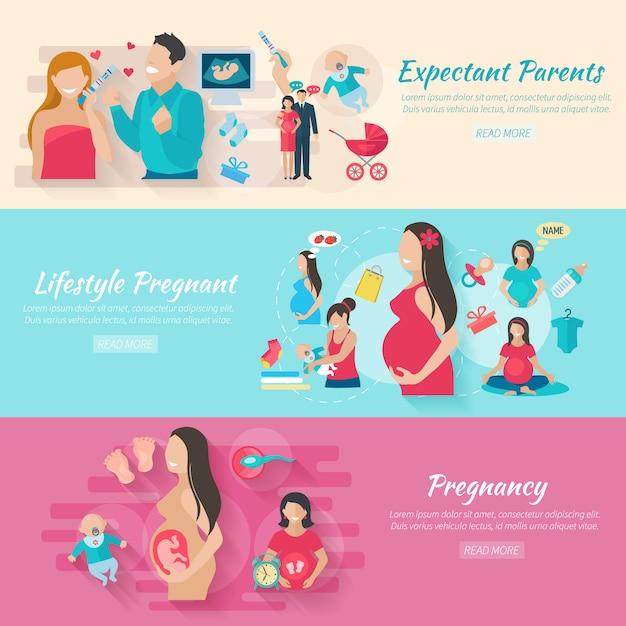 Horizontale fahne der schwangerschaft stellte mit den flachen elementen der eltern und der babys lokalisiert ein Kostenlosen Vektoren