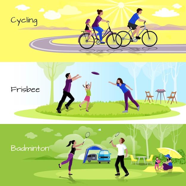 Horizontale fahnen der aktiven freizeitleute mit sportereignissen in der freizeit Kostenlosen Vektoren