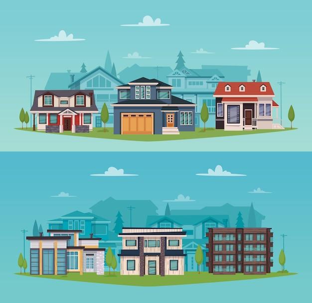 Horizontale fahnen der bunten landschaft mit vorstadthäusern und -häuschen Kostenlosen Vektoren