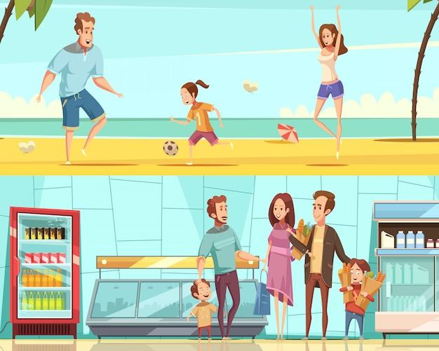 Horizontale fahnen der familie zwei mit den erwachsenen und kindern, die kauf im shopinnenraum machen und auf karikatur-vektorillustration des seestrandes flach stehen Kostenlosen Vektoren