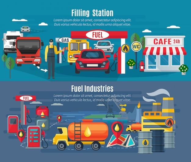 Horizontale fahnen der füllstation stellten mit lkws und café des autos ein Kostenlosen Vektoren