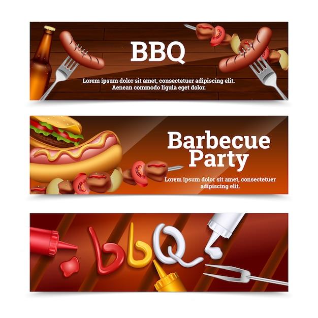 Horizontale fahnen der grillparty mit hot-dog-aufsteckspindelnhamburger- und -soßensatz Kostenlosen Vektoren
