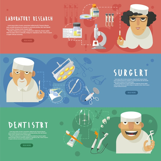 Horizontale fahnen der medizinischen gesundheitspflege Kostenlosen Vektoren