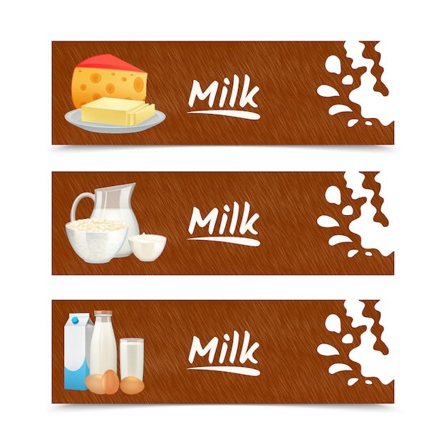 Horizontale fahnen der milchprodukte stellten mit sauerrahm der käsebutter ein Kostenlosen Vektoren
