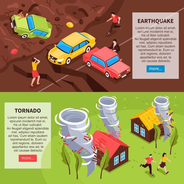 Horizontale fahnen der naturkatastrophe mit isometrischen zusammensetzungen des erdbebens und des tornados Kostenlosen Vektoren