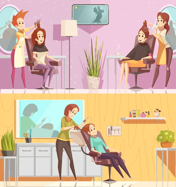 Horizontale fahnen der retro- karikatur der friseursalon-service 2 stellten mit dem anredenden schnittfärbungsbehandlungen lokalisiert ein Kostenlosen Vektoren