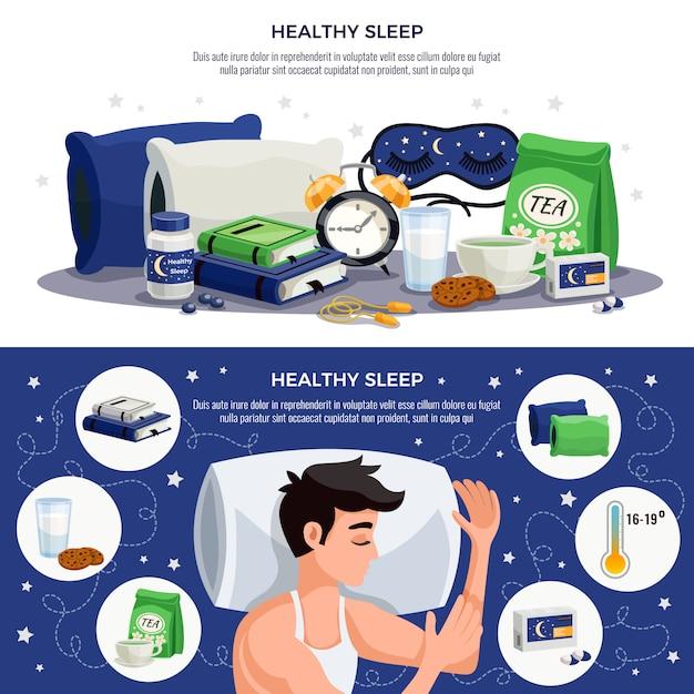 Horizontale fahnen des gesunden schlafs mit dem jungen mann, der auf beruhigender teemaske des orthopädischen kissens schläft, bucht mit empfehlungen für gesunden lebensstil Kostenlosen Vektoren