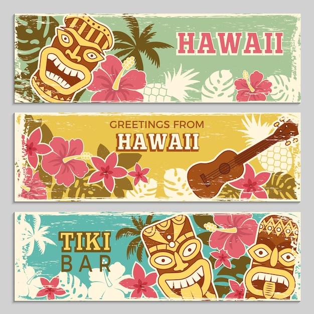 Horizontale fahnen stellten von den hawaiischen stammes- göttern und von anderen verschiedenen symbolen ein Premium Vektoren