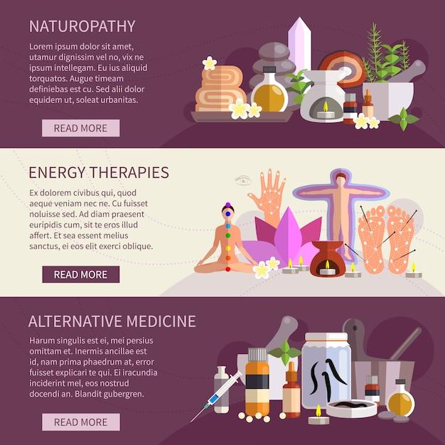Horizontale fahnen, welche die flachen ikonen der alternativmedizin eingestellt zeigen Kostenlosen Vektoren