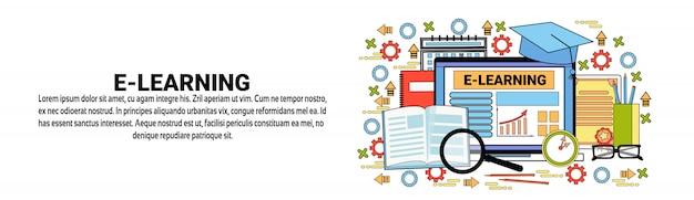 Horizontale fahnenschablone des e-learning-on-line-bildungs-konzeptes Premium Vektoren
