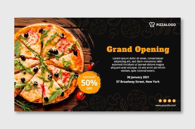 Horizontale fahnenschablone für italienisches nahrungsmittelrestaurant Premium Vektoren