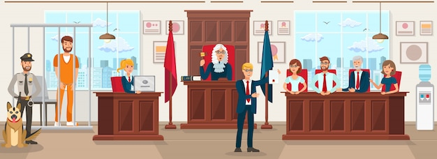 Horizontale flache vektor-illustration jury trial. Premium Vektoren