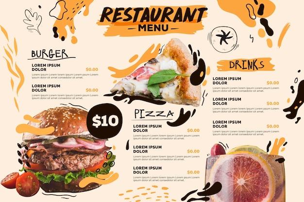 Horizontale formatvorlage des digitalen restaurantmenüs mit burger und pizza Kostenlosen Vektoren