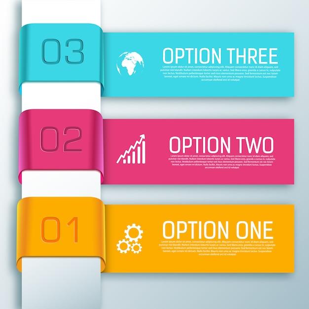 Horizontale formen des infografikbands mit drei textoptionen Kostenlosen Vektoren