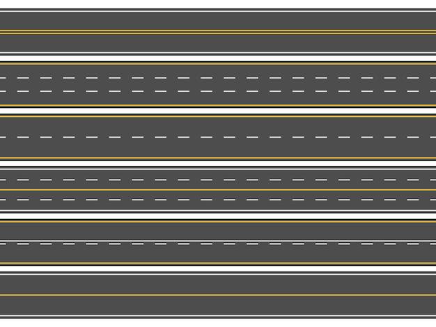 Horizontale gerade asphaltstraßen, moderne straßenfahrbahnlinien oder leere straßenmarkierungen Premium Vektoren