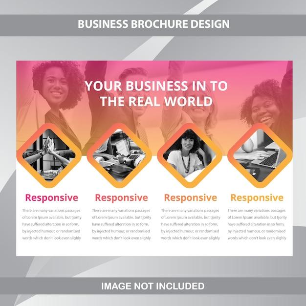 Horizontale geschäfts-broschüren-schablone Premium Vektoren