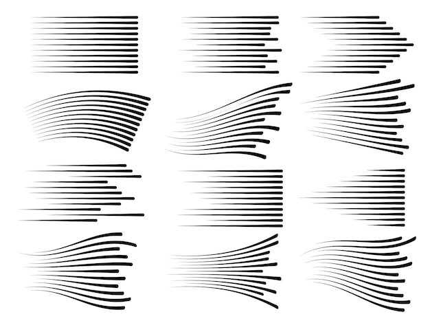 Horizontale geschwindigkeitsbewegungslinien. schnelle linie vektor isoliert Premium Vektoren