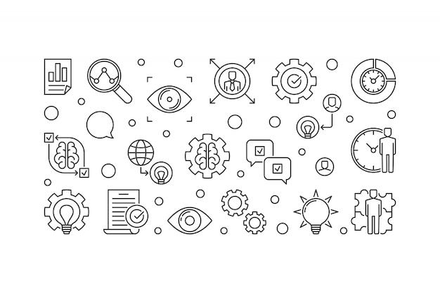Horizontale ikonenillustration des visions-aussagenentwurfs Premium Vektoren