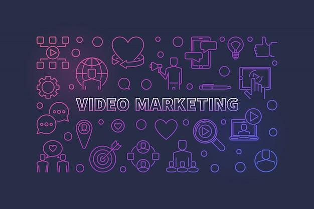 Horizontale illustration des colful entwurfs des videomarketings Premium Vektoren