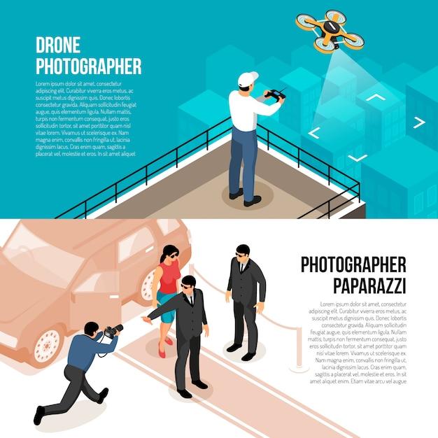 Horizontale isometrische banner des professionellen fotografen mit ferngesteuerter drohnen-technologie und paparazzi-vektorillustration des promi-schießens Kostenlosen Vektoren