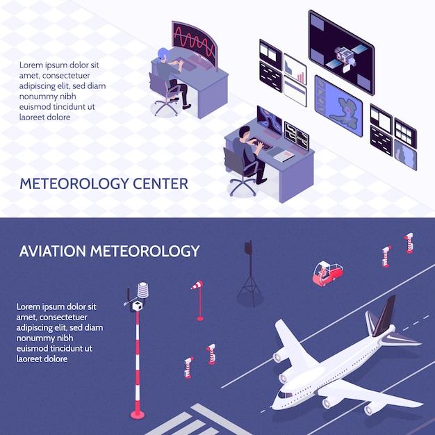 Horizontale isometrische meteorologische mittelfahne des wetters zwei stellte mit meteorologiezentrum- und luftfahrtmeteorologiebeschreibungen ein Kostenlosen Vektoren
