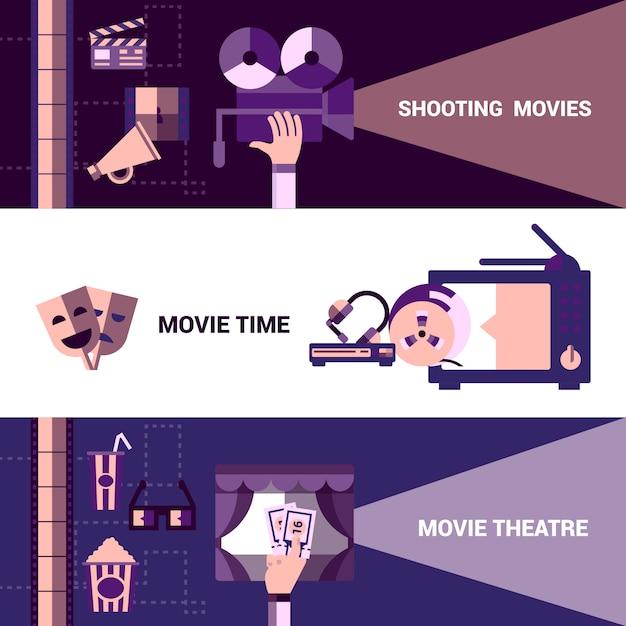 Horizontale kino und moive theatre banner Kostenlosen Vektoren